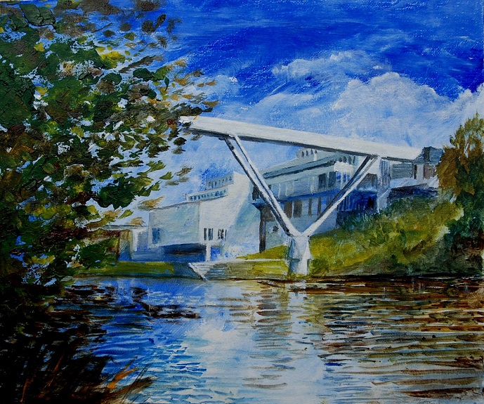 "51 -Kingsgate Br & Dunelm House by Willie Drea. -oil 12""x10"""
