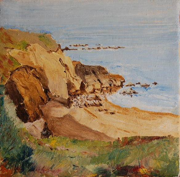 "17 -Man Haven The Leas Sth Shields by W Drea -oil on canvas board 8""x8"""
