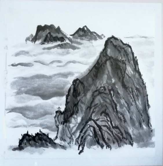 8 -Ancient Style Mountain by You-Jin Lou. -ink on rice paper