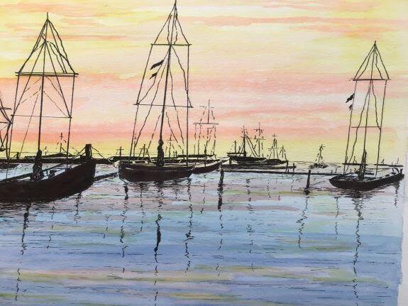 Pat Thompson, Harbour at sunset
