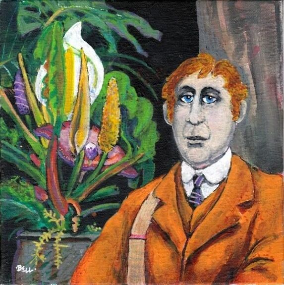 "Harry Bell, The Botanist -acrylic on board 8""x8"