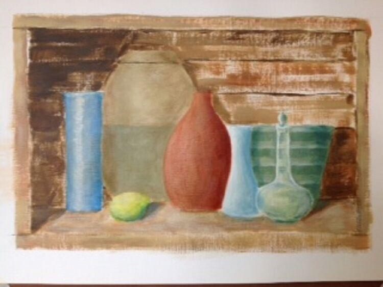 John Fulthorpe, Glass and Ceramics in a Box. -acrylics