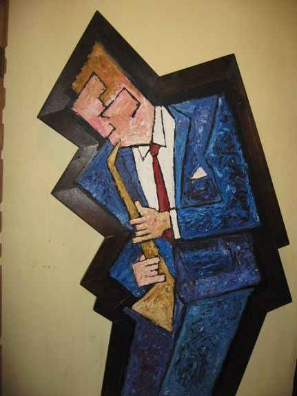 Sax Player by Aubrey Anderson, mixed media