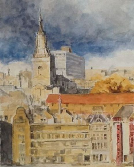 All Saints, Newcastle -gouache by Anne Brown