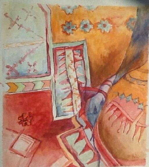 106 Crumpled Carpet -gouache by Anne Brown