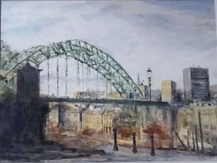 Newcastle, Tyne Bridge -gouache by Anne Brown