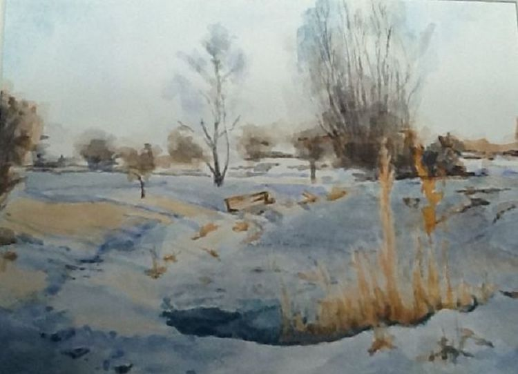 Snow at the Pond -gouache by Anne Brown