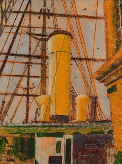 27 Discovery Dundee -acrylic on board by Allan White