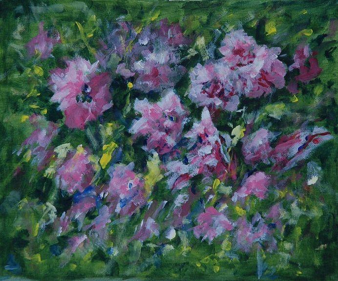 12 Apple Blossom -acrylic by Audrey Drynan