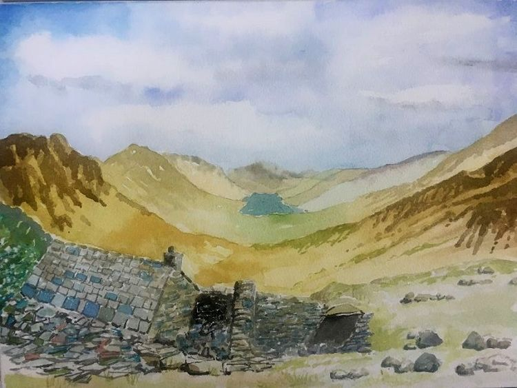 45 Buttermere from Honister -watercolour by Dougie Johnstone