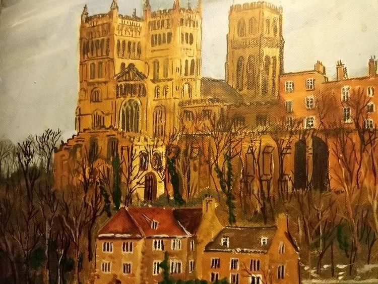 18 Durham Cathedral -mixed media- by Brian Wilson