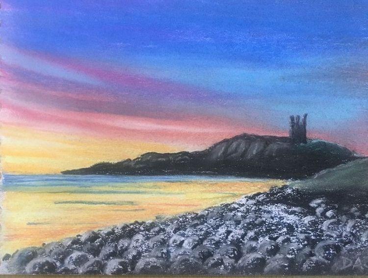 68 Dunstanburgh -pastel by Dougie Johnstone