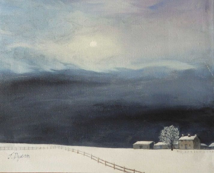 Farm by Moonlight -oil by Jenny Dyson