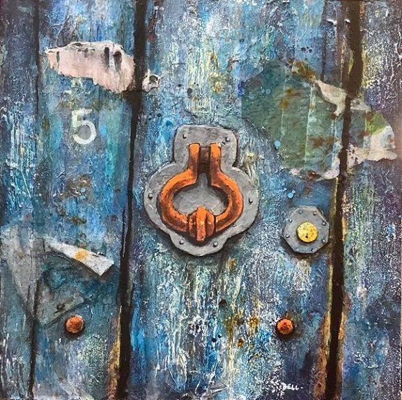 7 Blue Door -mixed media by Harry Bell