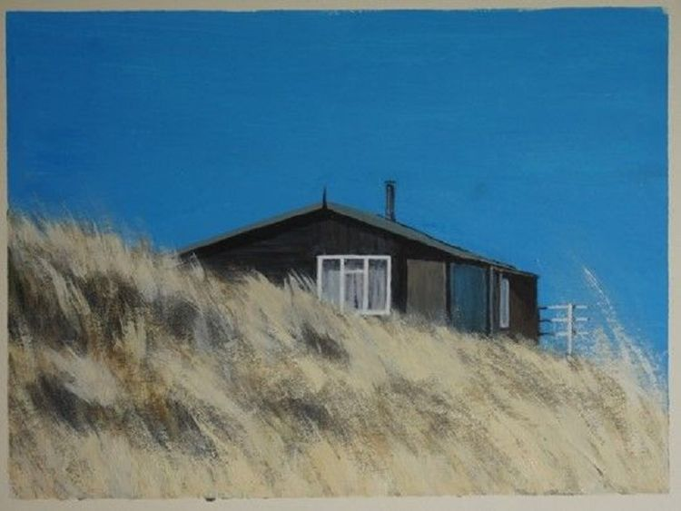 Beach Hut Newton-by-the Sea -acrylic by John Fulthorpe