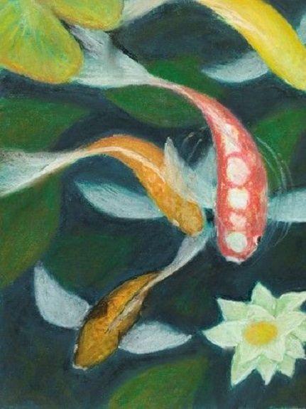 Koi Carp -pastel by John Fulthorpe
