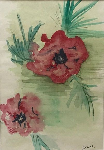 13 Poppies -watercolour by Julie Manning