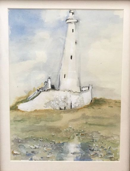 St Mary's Lighthouse -watercolour by Julie Manning