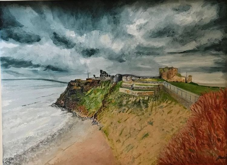 Tynemouth Priory -acrylic- by Julie Manning