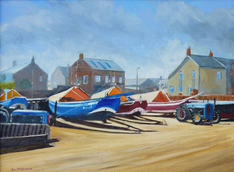 Newbiggin Fishing Boats -oil by Joe McGregor