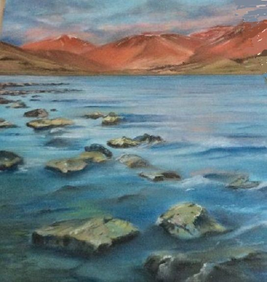 81 North Wales Seascape -pastel by Margaret Richardson