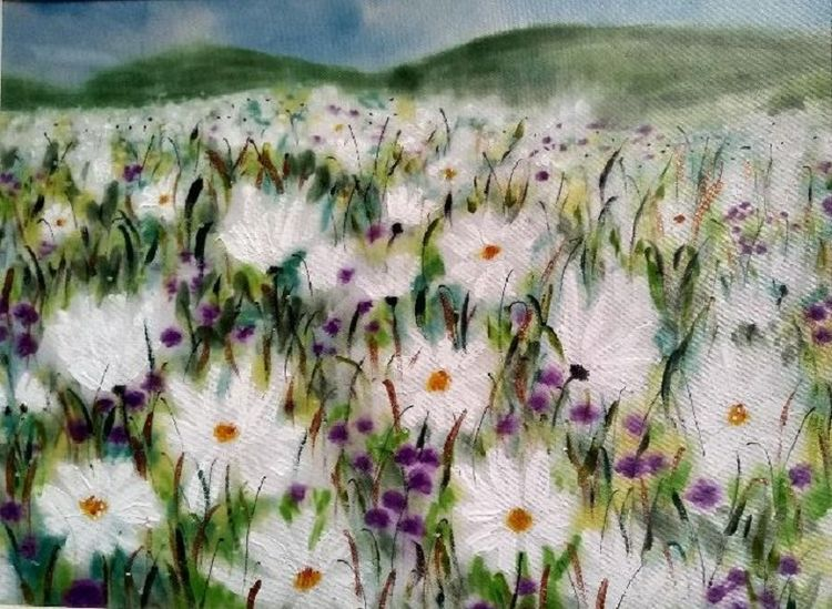 98 Daisy Meadow -painted on satin by Sheila Lewis
