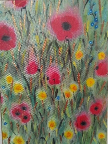 Summer Meadow -painted on Satin by Sheila Lewis