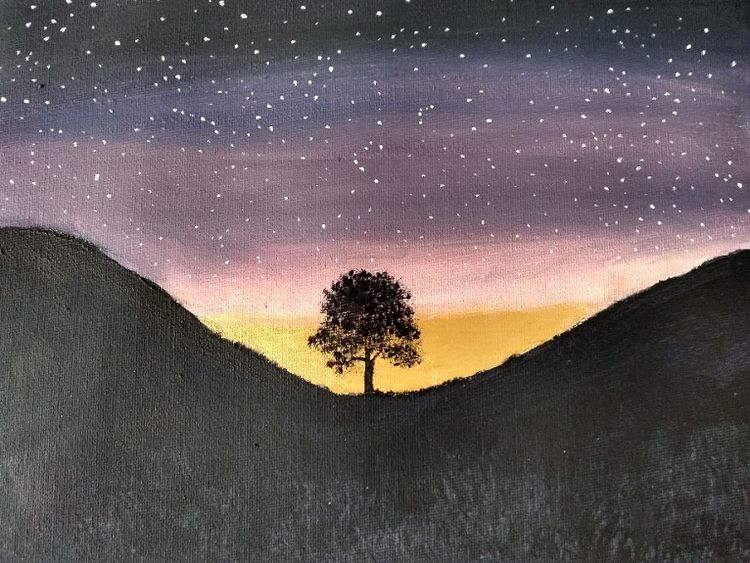 Sycamore Gap -acrylic by Sheila Lewis