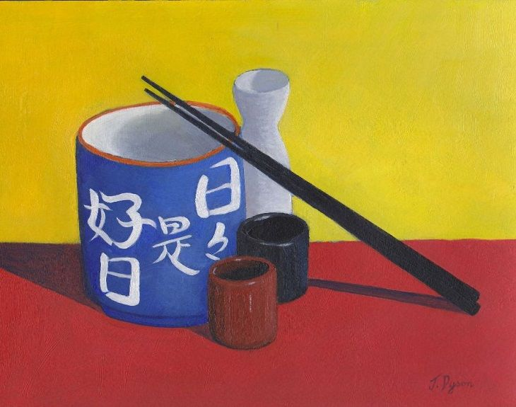 105 Still Life with Sake Cups, oil by Jenny Dyson