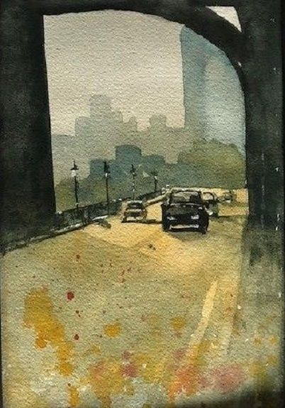 56 Tyne Bridge at Dusk -watercolour by Tim Griffiths