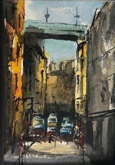 54 Tyne Bridge Queen Street -watercolour by Tim Griffiths