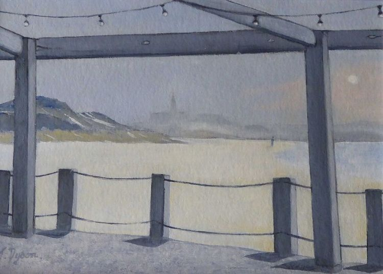 48 Tynemouth in the Morning Mist, oil by Jenny Dyson