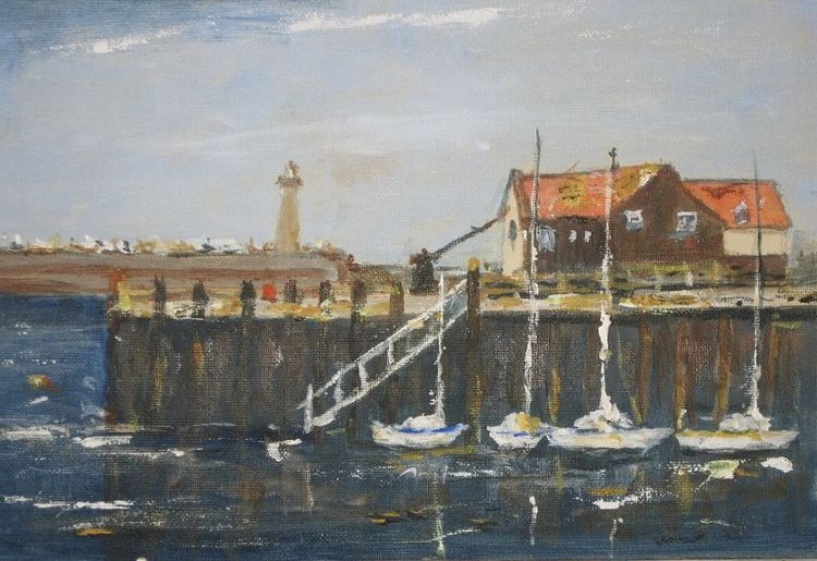 Whitby Harbour -acrylic by Audrey Drynan