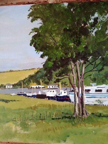 20 Canal & Barges, Norfolk -acrylic by Brian Wilson