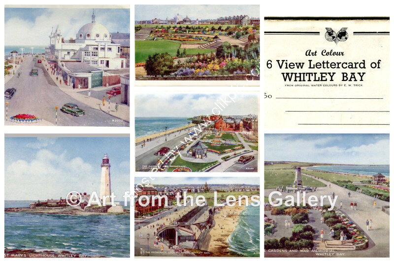 EW Trick Whitley Bay unused letter card