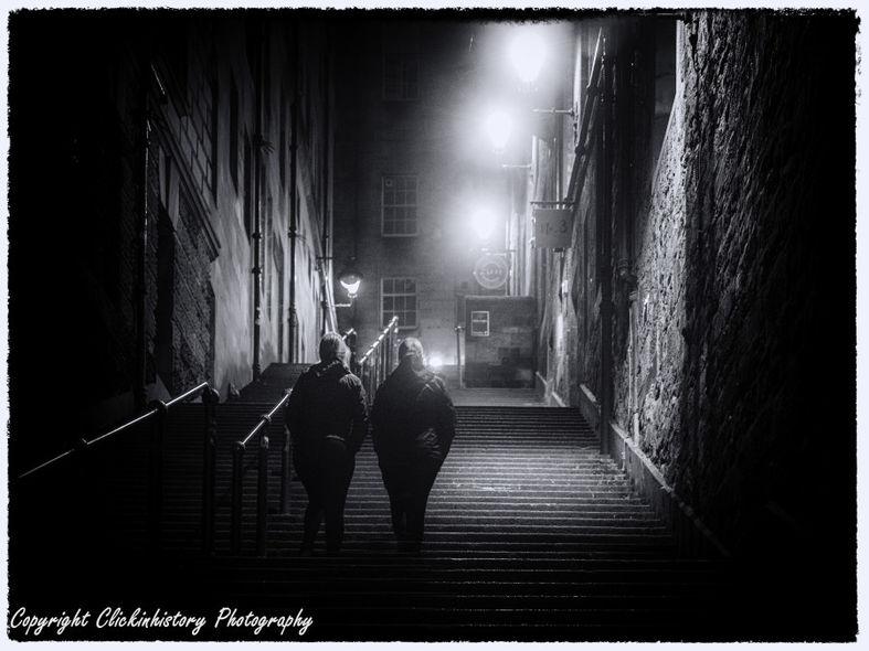 Night shot of steep steps in Edinburgh at night