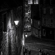 Urban street scene at night in Edinburgh
