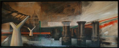 Bridges between two worlds 40x100cm mixedmedia on board