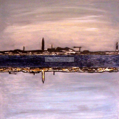 Riflessione Veneziana 40x40cm mixed media on board