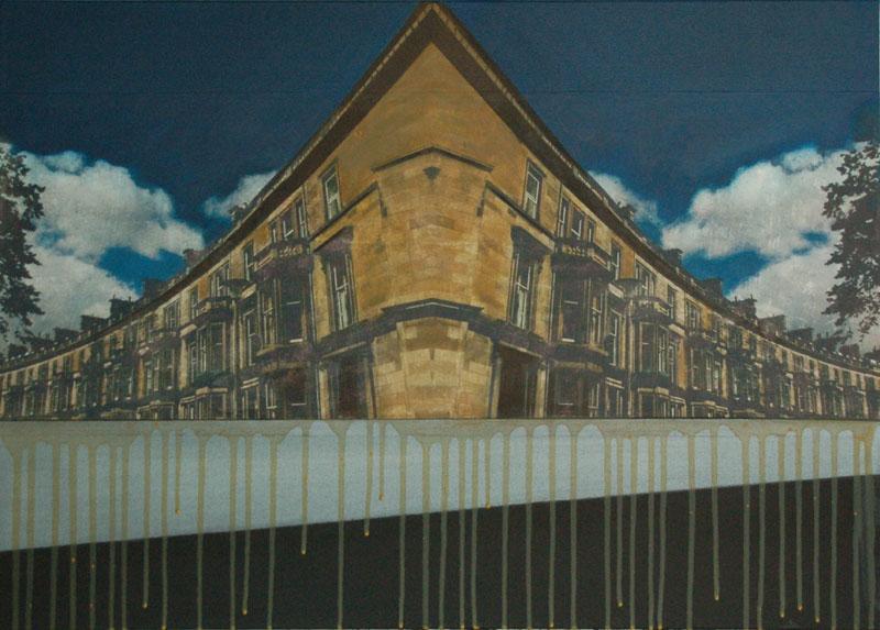 hg462 Edinburgh Reflection II New Town 50x70cm mixed media on canvas