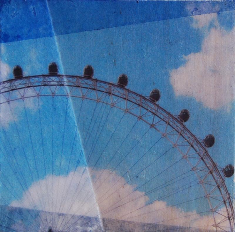 hg488 London Eye 12x12cm mixed media on board 2010