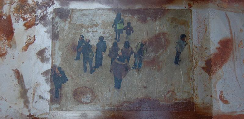 hg842 Urban Life III 25x50cm mixed media on metal 2011