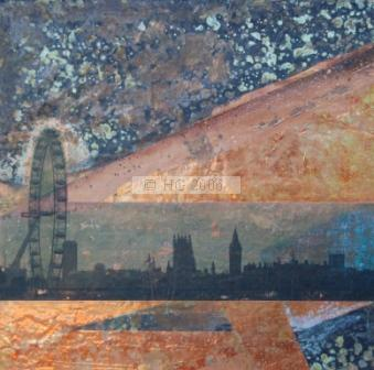 London Skyline 35 x 35 cm mixed media on copper and board