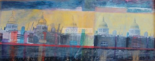 St. Paul's Montage 40 x 100 cm. mixed media on board