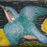 Kingfisher and Yellow Waterlillies