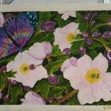 Purple Butterfly, Pink Flowers
