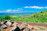 #D117 - View of the Hula Valley and Naftali Mountain in the background from the slope of the Golan Heights.