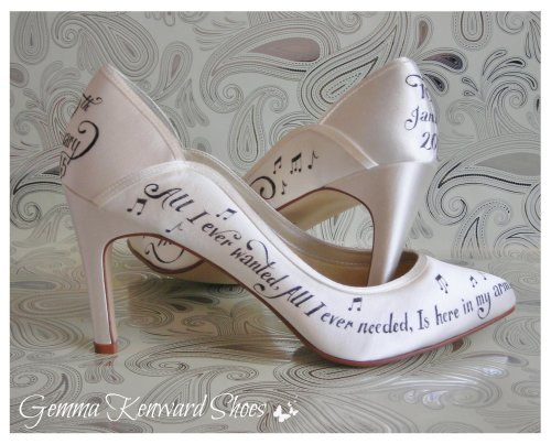 Black and white hand painted wedding shoes