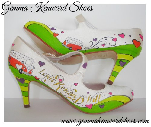 Camper Van Custom Hand Painted WeddingMary Jane Shoes