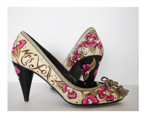 Hand Painted wedding shoes in pink, brown and cream